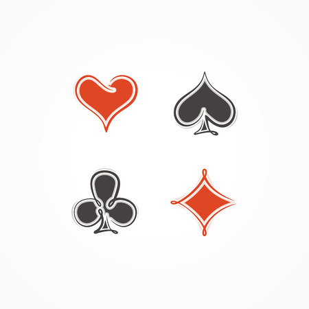 4 of a kind: Card suit. Vector illustration.