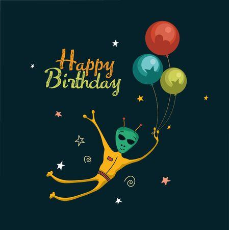 birthday card with a cute alien balloons