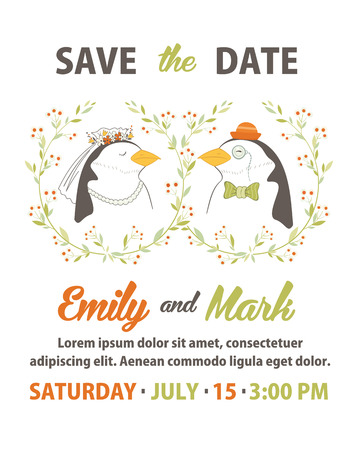 Wedding invitation card template. Vector illustration