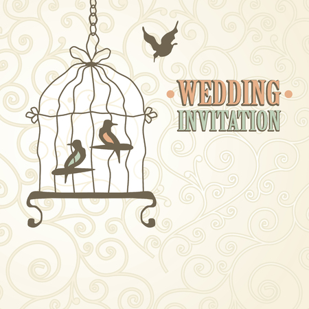 two birds: Postcard design two birds in a cage Illustration