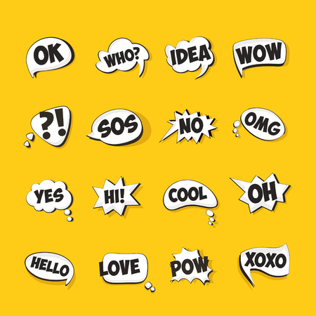 Speech bubbles for cartoons set. Ilustrace