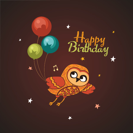 Cute vector owl with balloons. Vector Illustration