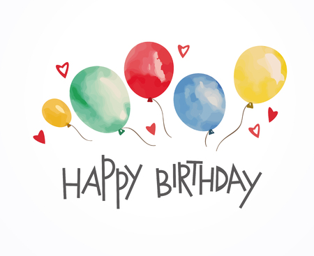 Birthday card with balloons. Vector Illustration