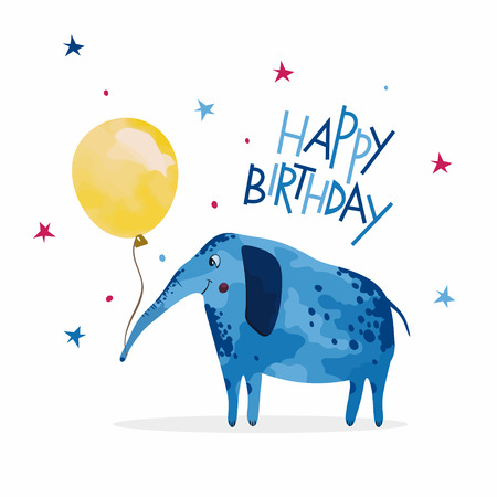 Happy Birthday card, elephant with balloon. Ilustrace