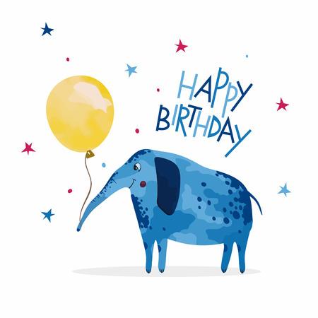 Happy Birthday card, elephant with balloon. Reklamní fotografie - 55964480