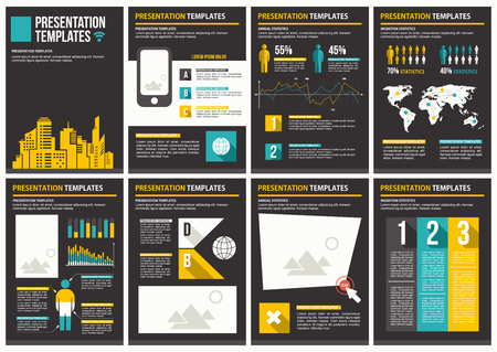 interaction: Infographics brochure elements for business data visualization. Illustration