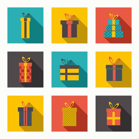 Vector set of different gift boxes. Flat design. Reklamní fotografie - 55964071