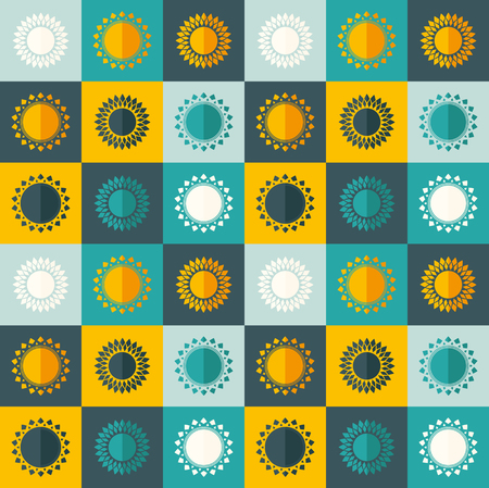 Abstract seamless pattern with suns