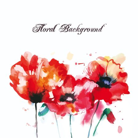Red poppies, greeting-card. Red poppies painted by watercolor, the background for text. Reklamní fotografie - 55964050