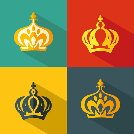 Set flat icons of crown. Vector Illustration