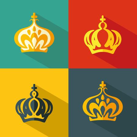 Set flat icons of crown. Vector Illustration Reklamní fotografie - 55964085