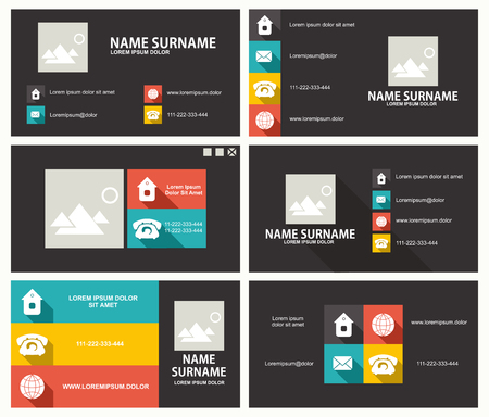Business card template with flat user interface Ilustrace