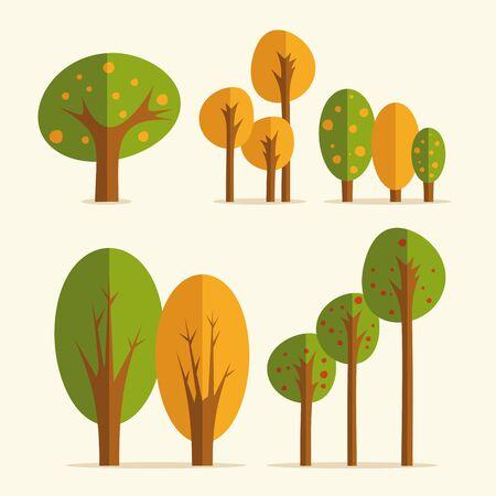 Set of flat trees Reklamní fotografie - 55963894