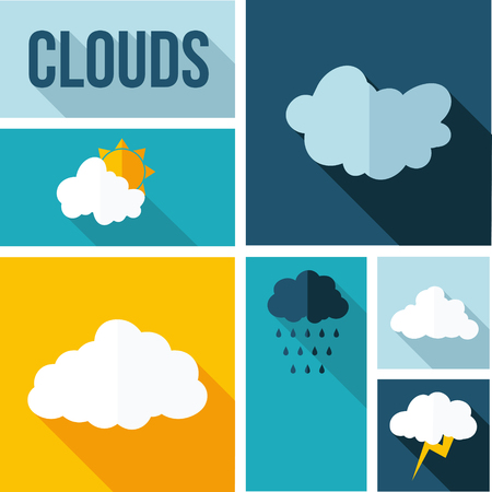 Flat design clouds collection Ilustrace