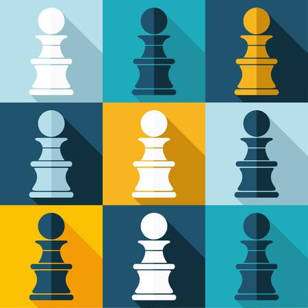 Seamless pattern with pawn. Flat Design