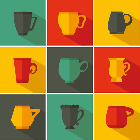 Set cup icon. Vector illustration flat design