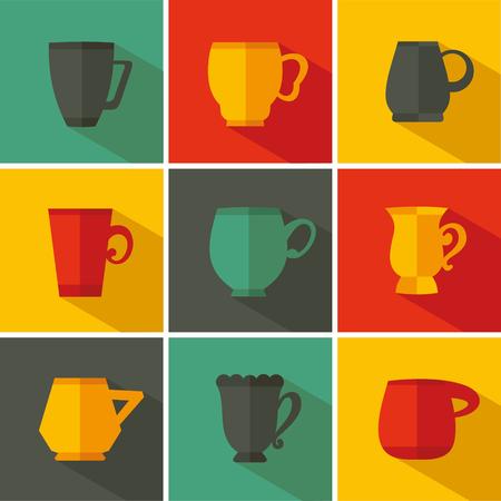 pot holder: Set cup icon. Vector illustration flat design