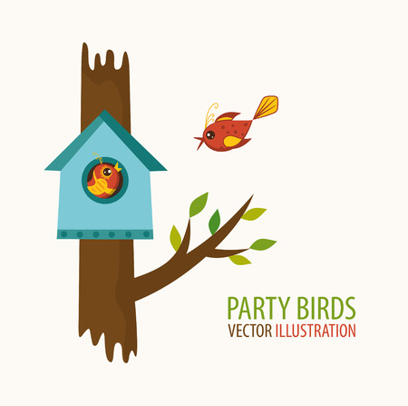 Birdhouse and bird lovers. Vector illustration Ilustrace