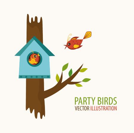 Birdhouse and bird lovers. Vector illustration Reklamní fotografie - 59396673