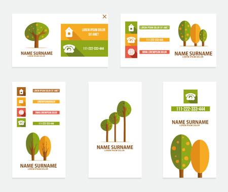 Business card with trees. Vector illustration