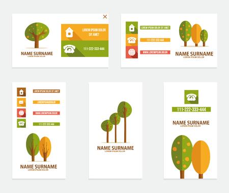 Business card with trees. Vector illustration Reklamní fotografie - 59396677