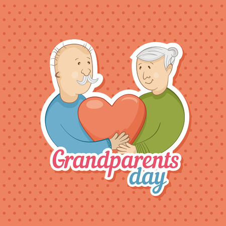 grandparents holding heart. Vector illustration
