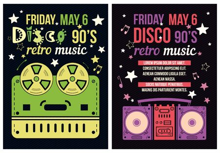 nineties: Retro Poster - 90s Party Flyer with a tape recorder
