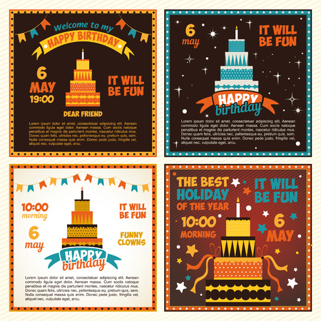 Set birthday invitations with cake