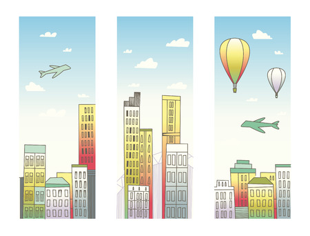 Vector vertical banners of cityscape. Vector illustration