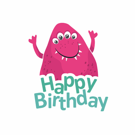 bash: Cute pink monster. birthday card. Vector illustration Illustration