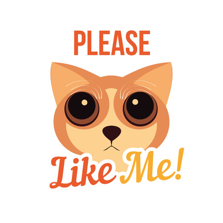 Cute cat with big eyes. Cat poster. Vector illustration Ilustrace