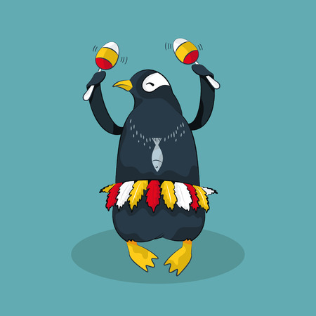 Dancing cute penguin. Vector illustration