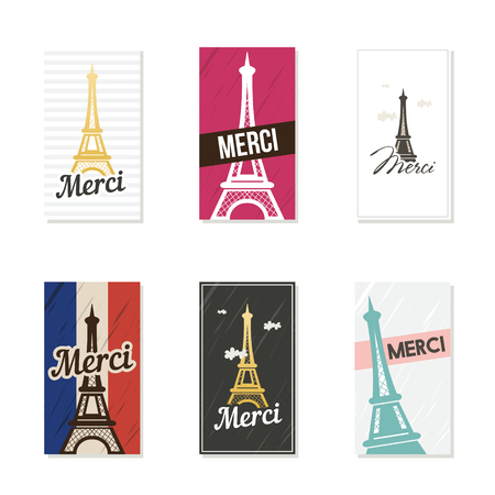 Merci  - French word for Thank you. Set of cards. Vector illustration