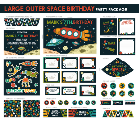 birthday baby: Large Outer Space Birthday Party Package Set. Printable. Invitation Included - 16 Items Illustration