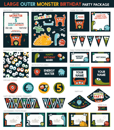 Large Outer monster Birthday Party Package Set. printable. Invitation Included - 14 Items Ilustrace