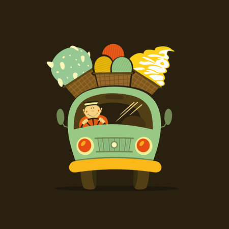 Ice cream car, mobile shop. Vector illustration Ilustrace