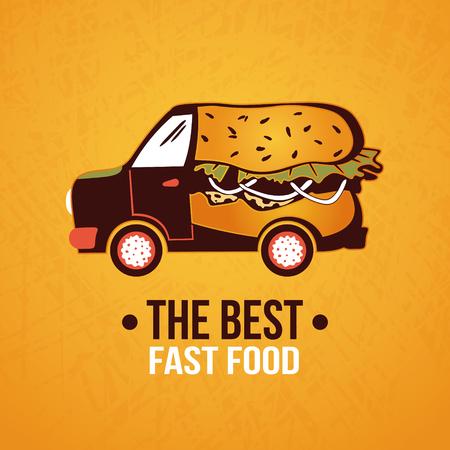 Hot - dog truck. Fast food delivery. Vector illustration Illustration