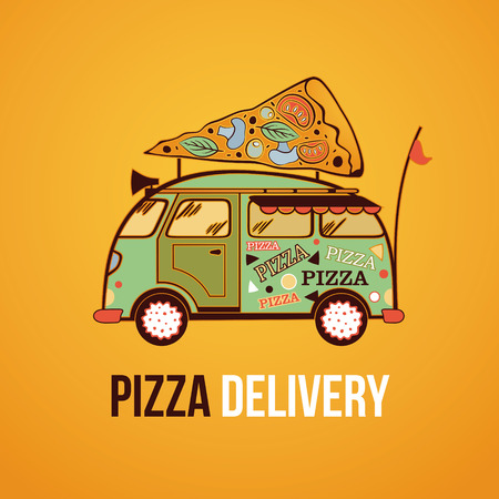 Pizza food truck city car. Food delivery car. Vector illustration