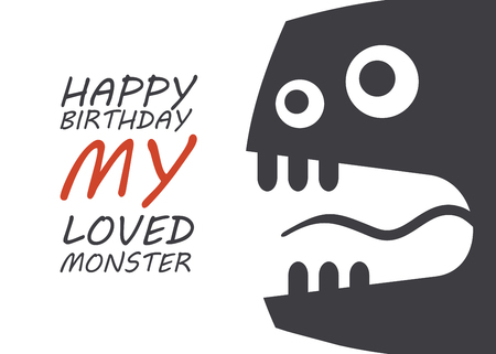 Monster Birthday Card. Cute Boy Monster. Vector illustration