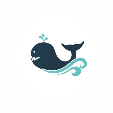 Whale vector icon, sign, symbol