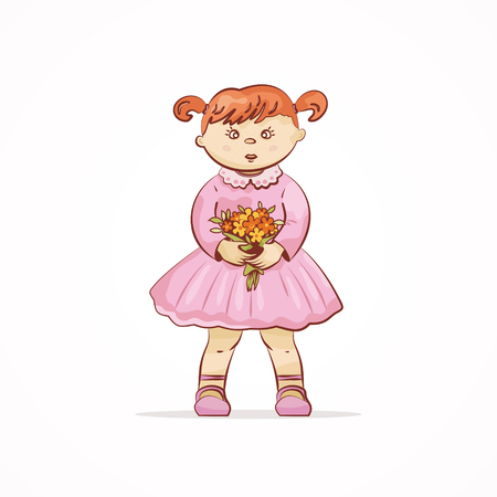 Cute girl with a bouquet of flowers. Vector illustration