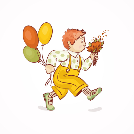 Cute boy with flowers and balloons. Vector illustration
