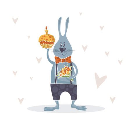 Funny bunny with bouquet of flowers and cake. Vector illustration