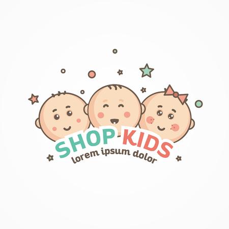 kids logo design template. Reklamní fotografie - 90922340