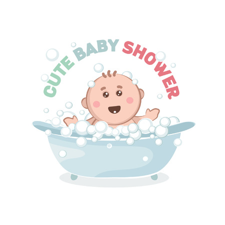 Illustration of baby in a bath with bubbles. A joyful Kid takes a bath.