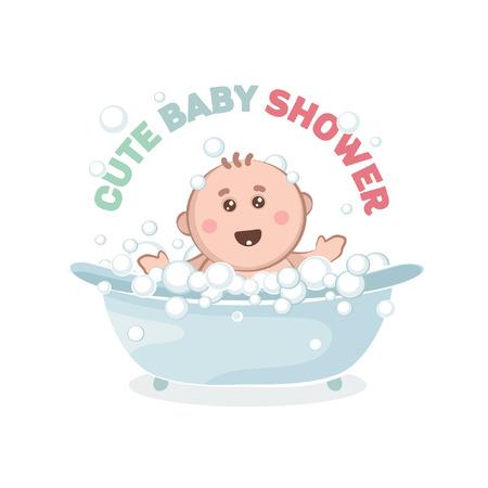 Illustration of baby in a bath with bubbles. A joyful Kid takes a bath.