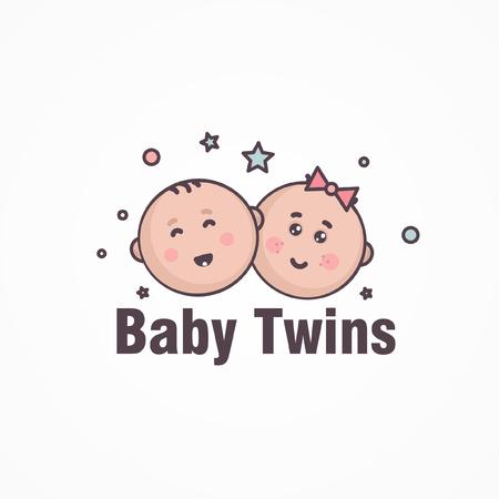 Baby shop logo. Boys and girls, children symbols - vector Template