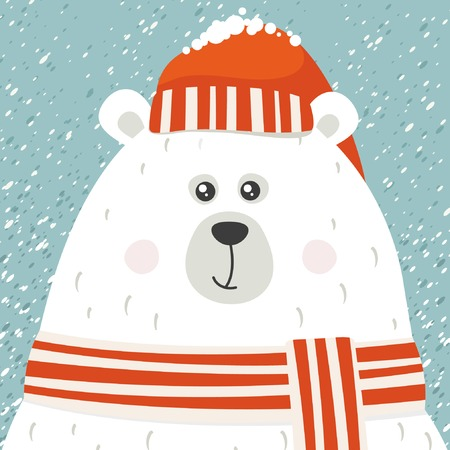 Polar bear greeting card Vector illustration.