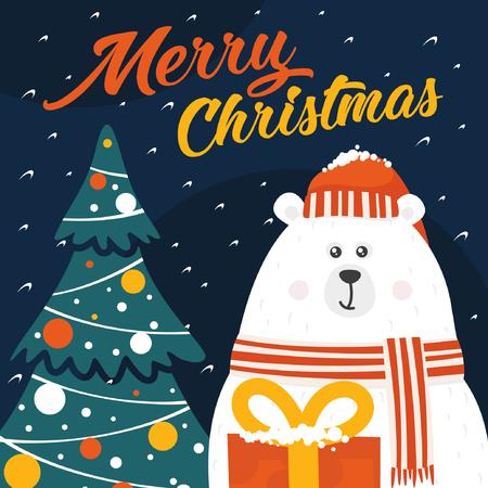Christmas holiday card with a white polar bear. Reklamní fotografie - 90872053