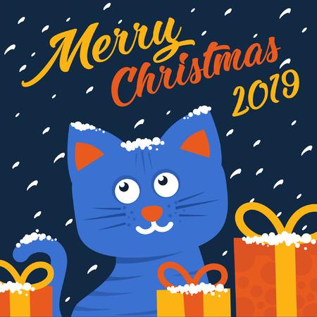 Merry Christmas card with cute cartoon kitten. Flat design. Reklamní fotografie - 90872056